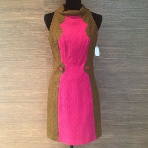 MILLY Pink & Olive Color Block Dress
